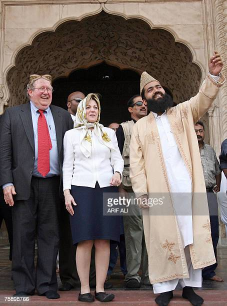 The new US ambassador to Pakistan Anne W Patterson is guided by Maulana Abdul Khabeer Azad cleric of the historic Badshahi Mosque on her visit at the...