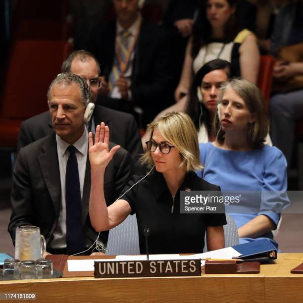 The new US Ambassador to the United Nation Kelly Craft takes up the United State's seat at the Security Council at UN headquarters on September 12...