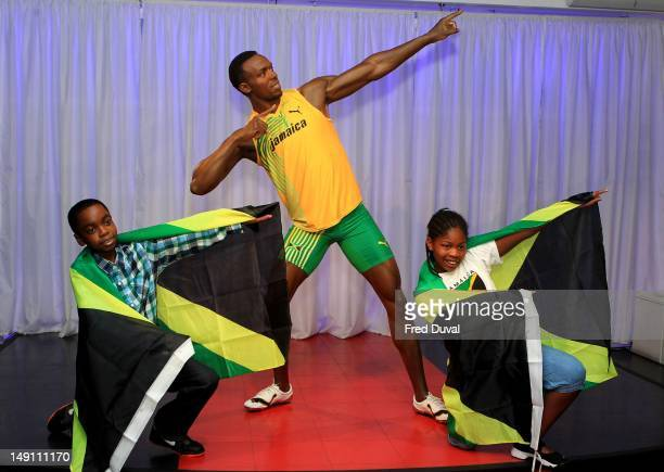 The new Usain Bolt wax figure is unveiled at Madame Tussauds on July 23 2012 in London England