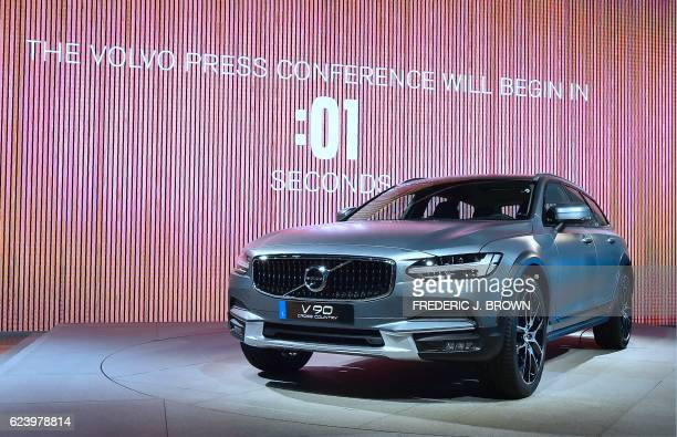 The new V90 from Volvo on display ahead of their press conference on the second of two press days at the Los Angeles Autoshow now called Automobility...