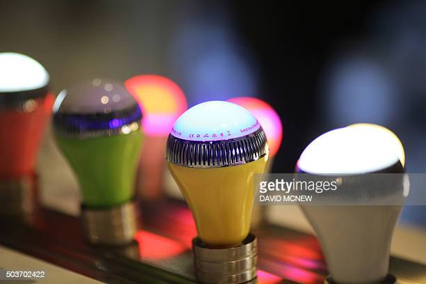 The new Vivitar Speaker Smartbulb LB120 which is both a speaker and a lightbulb that can be controled with a smartphone app is displayed at the CES...
