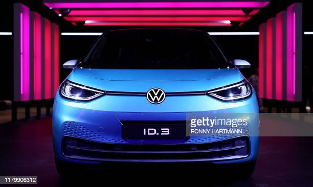 The new Volkswagen electric car, the ID.3 model, is displayed at the Volkswagen car factory in Zwickau, eastern Germany, on November 04 the day of...