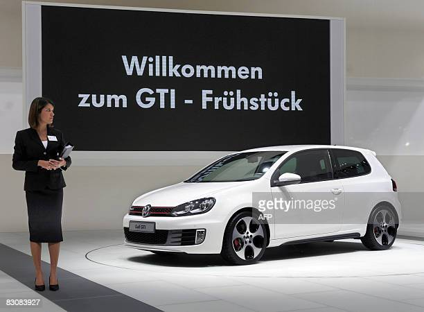 The new Volkswagen Golf GTI is presented at the Paris Motor Show on October 2 2008 The Motor Show will open to the public next October 4 AFP PHOTO /...