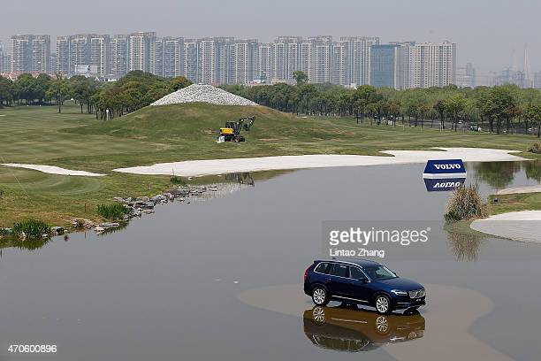 The new Volvo X90 Car at the 18th hole during the proam prior to the start of the Volvo China Open at Tomson Shanghai Pudong Golf Club on April 22...