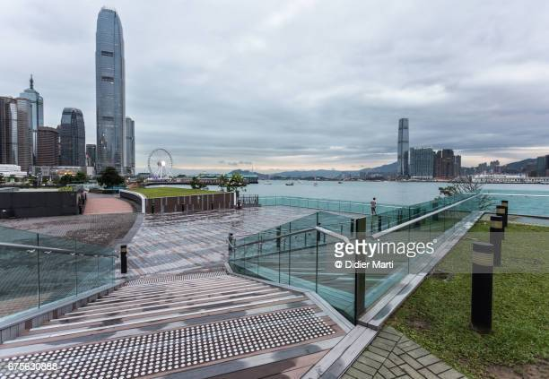 The new waterfront promenade along the Victoria Harbor in Hong Kong island