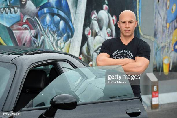 The new wax figure of US actor Vin Diesel for Madame Tussauds Berlin is unveiled at East Side Gallery on July 15, 2020 in Berlin, Germany. The figure...