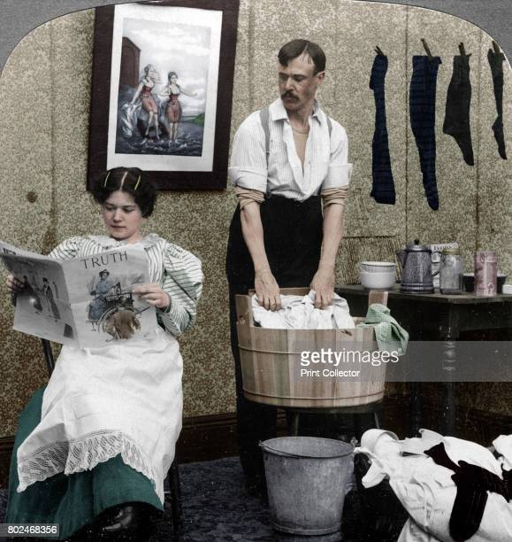 The New Woman Wash Day' Stereoscopic card detail Artist American Stereoscopic Company