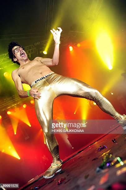 The new world champion Sylvain 'Gunther Love' Quimene from France performs during the 2009 Air Guitar World Championships in Oulu Finland on August...