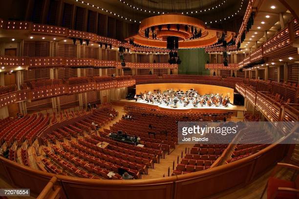 The New World Symphony rehearses on stage at The Knight Concert Hall in the Carnival Center for the Performing Arts October 3 2006 in Miami Florida...