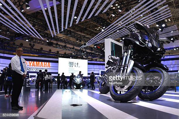 The new Yamaha Motor Co the leaning multiwheel concept model quotMWT9quot during press day at the 44th Tokyo Motor Show 2015 in Tokyo Japan on...
