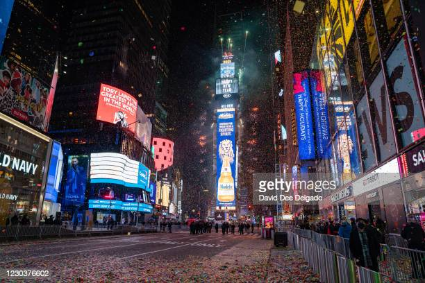 The New Year's Eve ball drops in a mostly empty Times Square on January 1 in New York City. On average, about one million revelers are drawn to the...