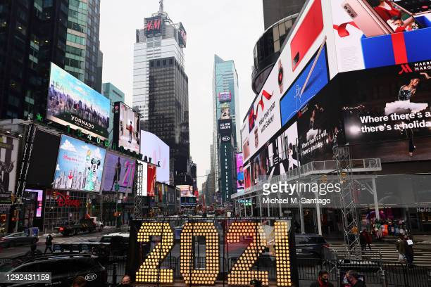 "The New Year's Eve numerals on display in Times Square on December 21, 2020 in New York City. The seven-foot-tall ""2021"" numerals will be on display..."