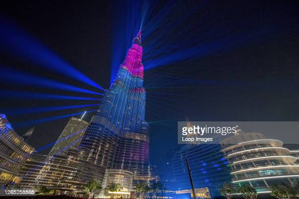 The New Year's light show illuminates the Burj Khalifa in Dubai in the UAE.