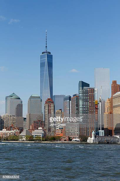 The New York City Skyline and the Freedom Tower is seen from Upper New York Bay on May 1 2015