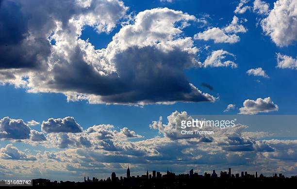 The New York City skyline is seen from Arthur Ashe Stadium on Day Fourteen of the 2012 US Open at the USTA Billie Jean King National Tennis Center on...