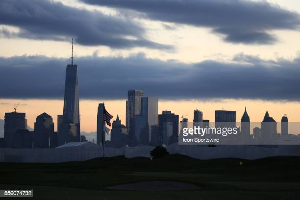 The New York city skyline seen at sunrise during the third round of the Presidents Cup at Liberty National Golf Club on September 30 2017 in Jersey...