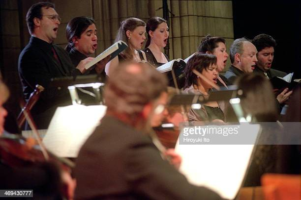 The New York Collegium performing Bach's 'St John Passion' at the Church of St Vincent Ferrer on Friday night February 8 2002This imageSingers in...