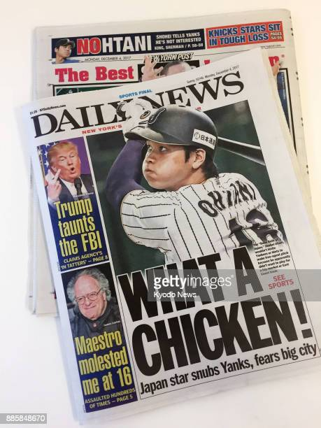 The New York Daily News and the New York Post react on Dec 4 2017 after the New York Yankees were among the teams that Japanese pitcherslugger Shohei...