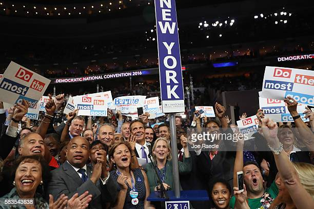 The New York delegation cast their votes during roll call along with Sen Chuck Schumer New York Gov Andrew Cuomo Sen Kirsten Gillibrand Rep Charles...
