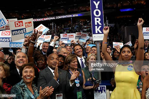 The New York delegation cast their votes during roll call along with New York City Mayor Bill De Blasio Sen Chuck Schumer Rep Charles Rangel New York...
