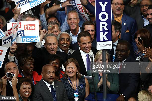 The New York delegation cast their votes during roll call along with Sen Chuck Schumer New York Gov Andrew Cuomo Sen Kirsten Gillibrand and Rep...