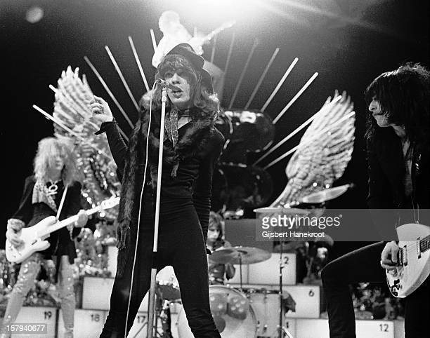 The New York Dolls perform live on TopPop TV show for AVRO TV at Hilversum Studios on December 06 1973 LR bassist Arthur Kane David Johansen and...