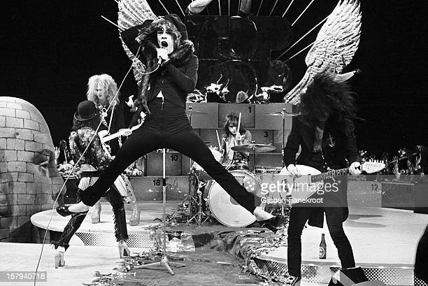 The New York Dolls perform live on TopPop TV show for AVRO TV at Hilversum Studios on December 06 1973 LR Guitarist Sylvain Sylvain bassist Arthur...