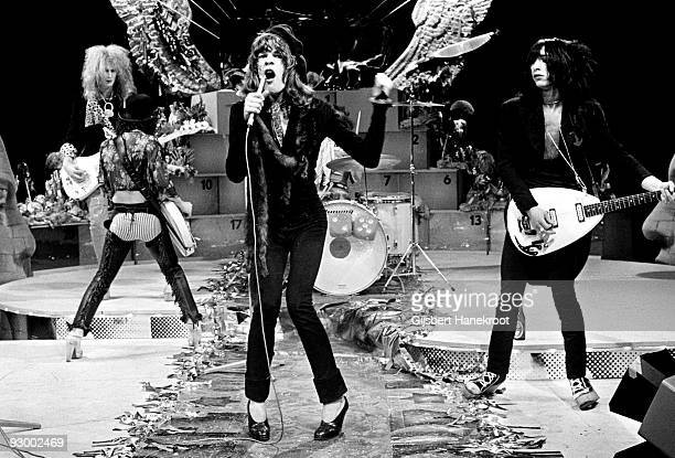 The New York Dolls perform live on TopPop TV show for AVRO TV at Hilversum Studios on December 06 1973 LR Arthur Kane Sylvain Sylvain David Jahansen...