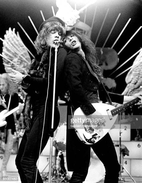 The New York Dolls perform live on TopPop TV show for AVRO TV at Hilversum Studios on December 06 1973 LR David Jahansen Johnny Thunders