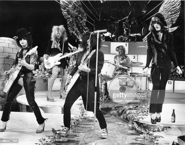 The New York Dolls perform live on TopPop TV show for AVRO TV at Hilversum Studios on December 06 1973 LR Sylvain Sylvain Arthur Kane Johnny Thunders...