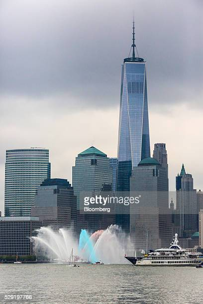 The New York Fire Department puts on a water show in front of One World Trade ahead of the Louis Vuitton America's Cup World Series sailing races in...