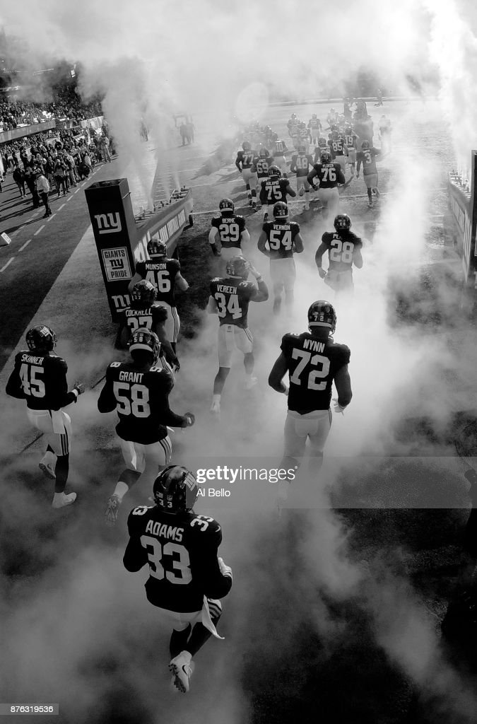 The New York Giants enter the field against the Kansas City Chiefs before their game at MetLife Stadium on November 19, 2017 in East Rutherford, New Jersey.