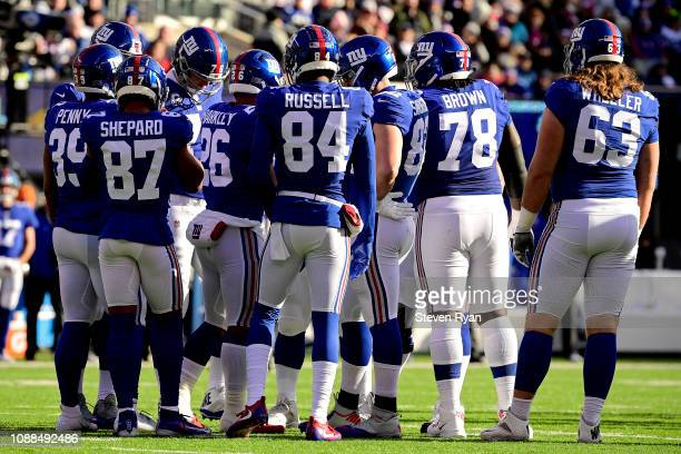 The New York Giants huddle prior to the play against the Dallas Cowboys at MetLife Stadium on December 30 2018 in East Rutherford New Jersey