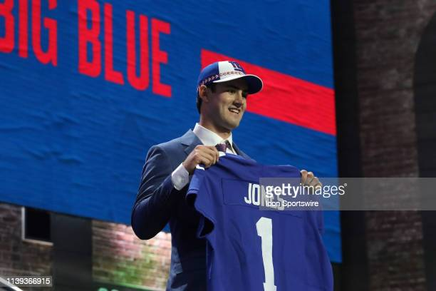 The New York Giants select Duke quarterback Daniel Jones in the first round of the 2019 NFL Draft on April 25 at the Draft Main Stage on Lower...