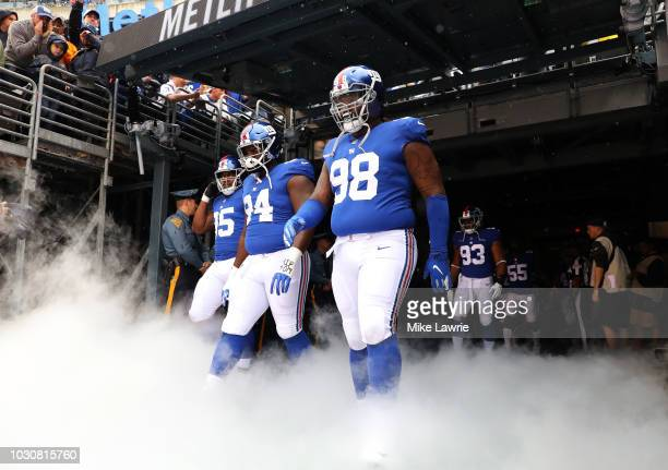 The New York Giants take the field before their game against the Jacksonville Jaguars at MetLife Stadium on September 9 2018 in East Rutherford New...