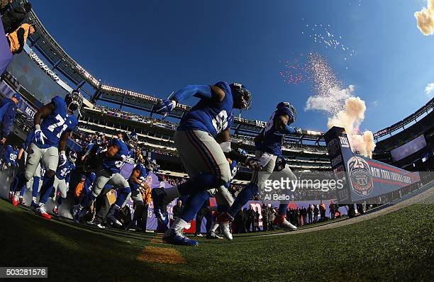 The New York Giants take the field prior to their game against the Philadelphia Eagles at MetLife Stadium on January 3 2016 in East Rutherford New...