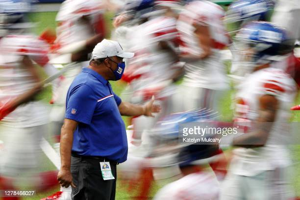The New York Giants warm up before the game against the Los Angeles Rams at SoFi Stadium on October 04, 2020 in Inglewood, California.