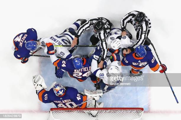 The New York Islanders and the Tampa Bay Lightning battle in Game Six of the NHL Stanley Cup Semifinals during the 2021 NHL Stanley Cup Finals at the...
