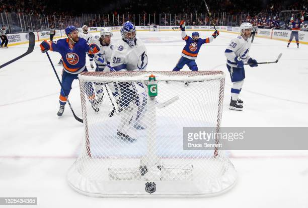 The New York Islanders celebrate a goal by Scott Mayfield against the Tampa Bay Lightning in Game Six of the NHL Stanley Cup Semifinals during the...