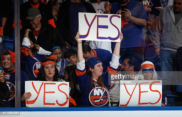 The New York Islanders fans celebrate their teams 3-1 victory over the Washington Capitals in Game Six of the Eastern Conference Quarterfinals during...