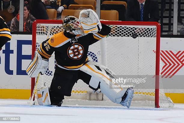 The New York Islanders score a goal against Niklas Svedberg of the Boston Bruins at the TD Garden on October 23 2014 in Boston Massachusetts