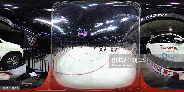 The New York Islanders skates against the Detroit Red Wings at the Barclays Center on January 25 2016 in the Brooklyn borough of New York City The...