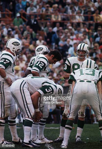 The New York Jets at a huddle during Super Bowl III against the Baltimore Colts at the Orange Bowl on January 12 1969 in Miami Florida The Jets...