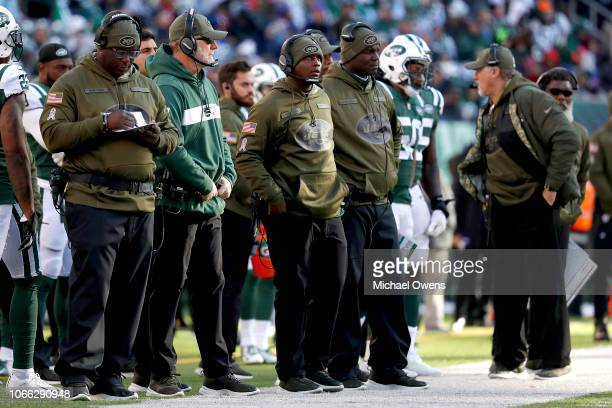 The New York Jets coaching staff looks on during the second quarter against the Buffalo Bills at MetLife Stadium on November 11 2018 in East...