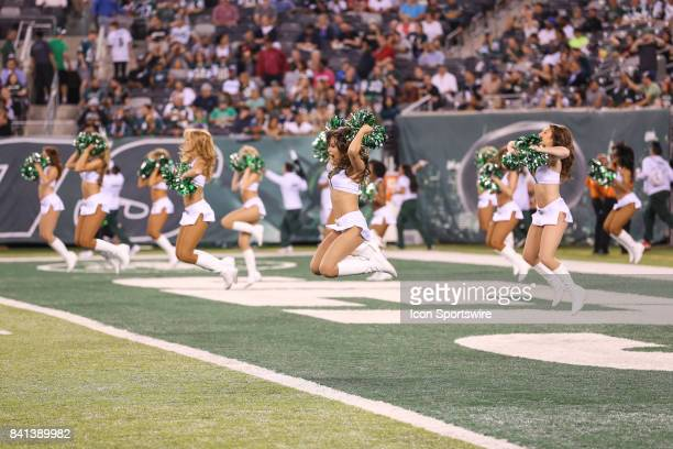 The New York Jets Flight Crew Cheerleader Team performs during the National Football League preseason game between the Philadelphia Eagles and the...