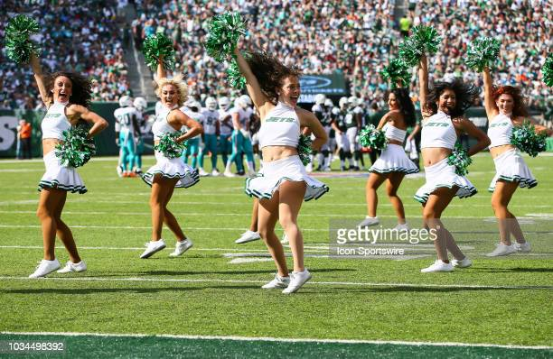 The New York Jets 'Flight Crew' cheerleaders perform during the National Football League game between the Miami Dolphins and the New York Jets on...