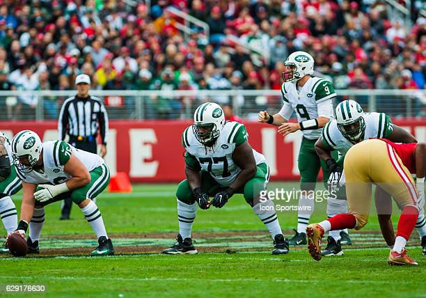 The New York Jets offensive line gets set during the regular season NFL game between the San Francisco 49ers verses the New York Jets on December...
