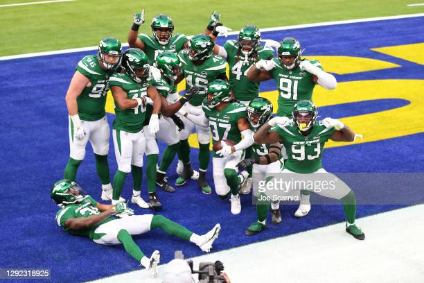The New York Jets pose for a photo following a touchdown during the first quarter of a game against the Los Angeles Rams at SoFi Stadium on December...