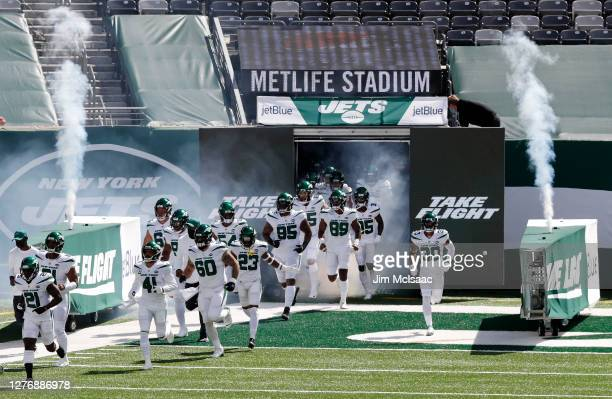 The New York Jets take the field for a game against the San Francisco 49ers at MetLife Stadium on September 20 2020 in East Rutherford New Jersey The...