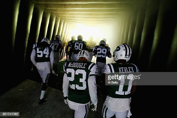 The New York Jets wait to enter the field against the Tennessee Titans before their game at MetLife Stadium on December 13 2015 in East Rutherford...
